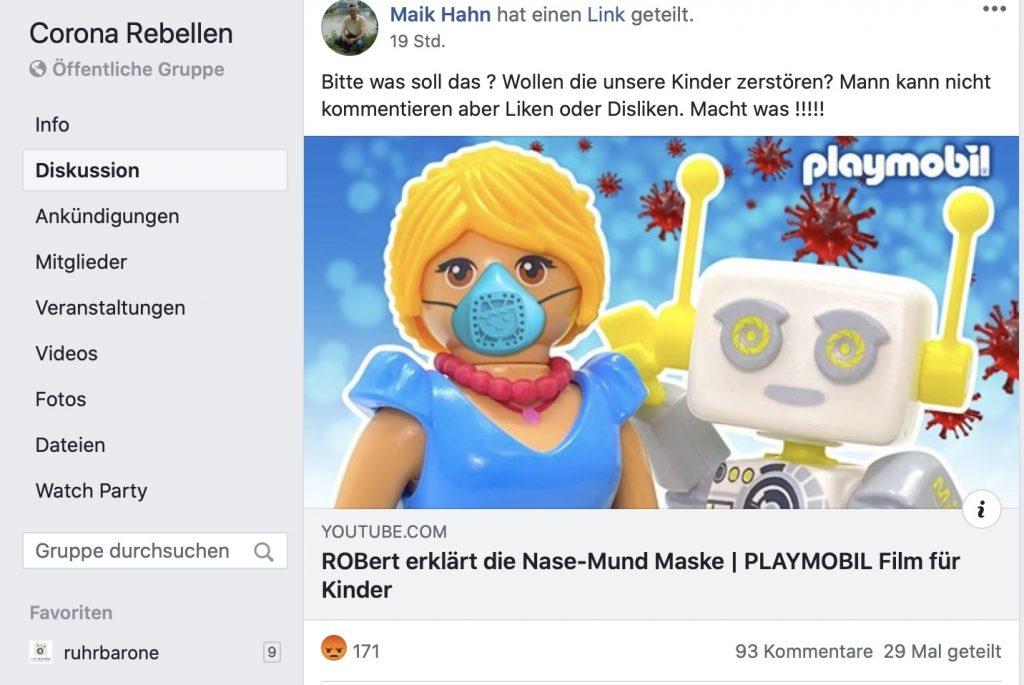 """Gesellschaftsfeindlich und egoistisch: """"Corona Rebellen""""; Screenshot Facebook"""