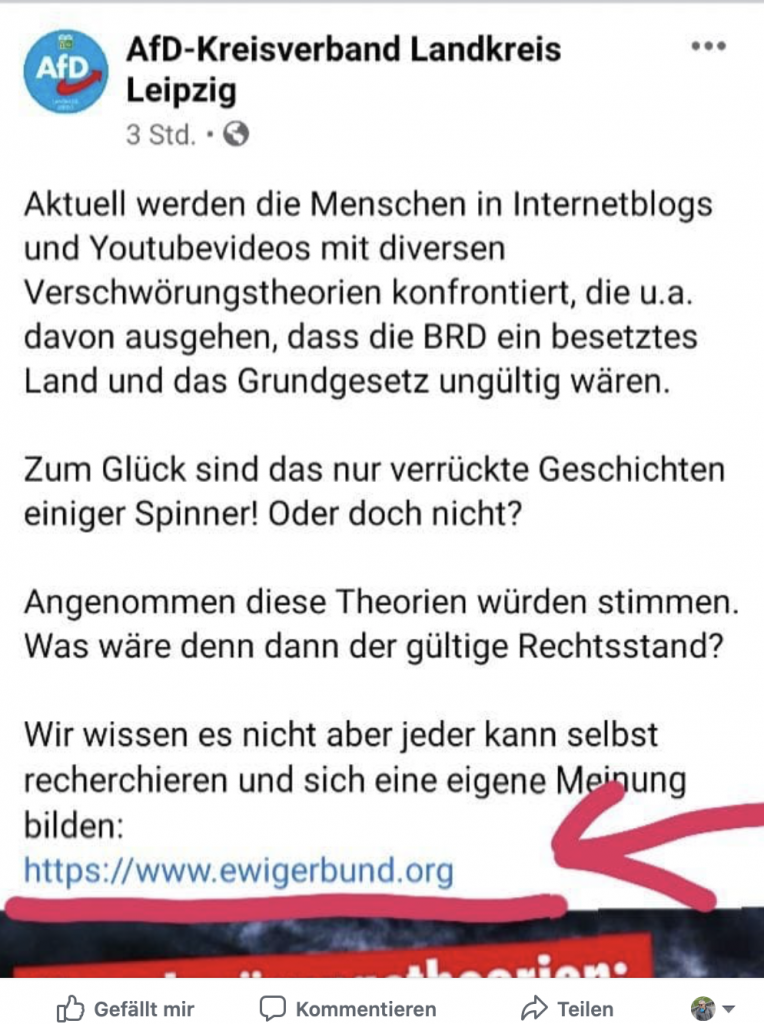 "Verlinkung auf ""ewigerbbund.org""; Screenshot Facebook"