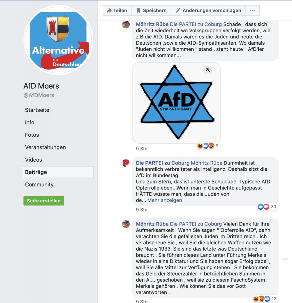 """Relativierung der Schoah: Auf der Facebbookseite der """"AfD Moers""""; Screenshot"""