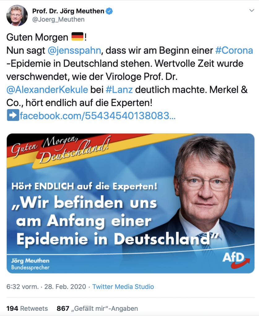 """""""Hört ENDLICH auf die Experten!""""; Screenshot: Twitter"""