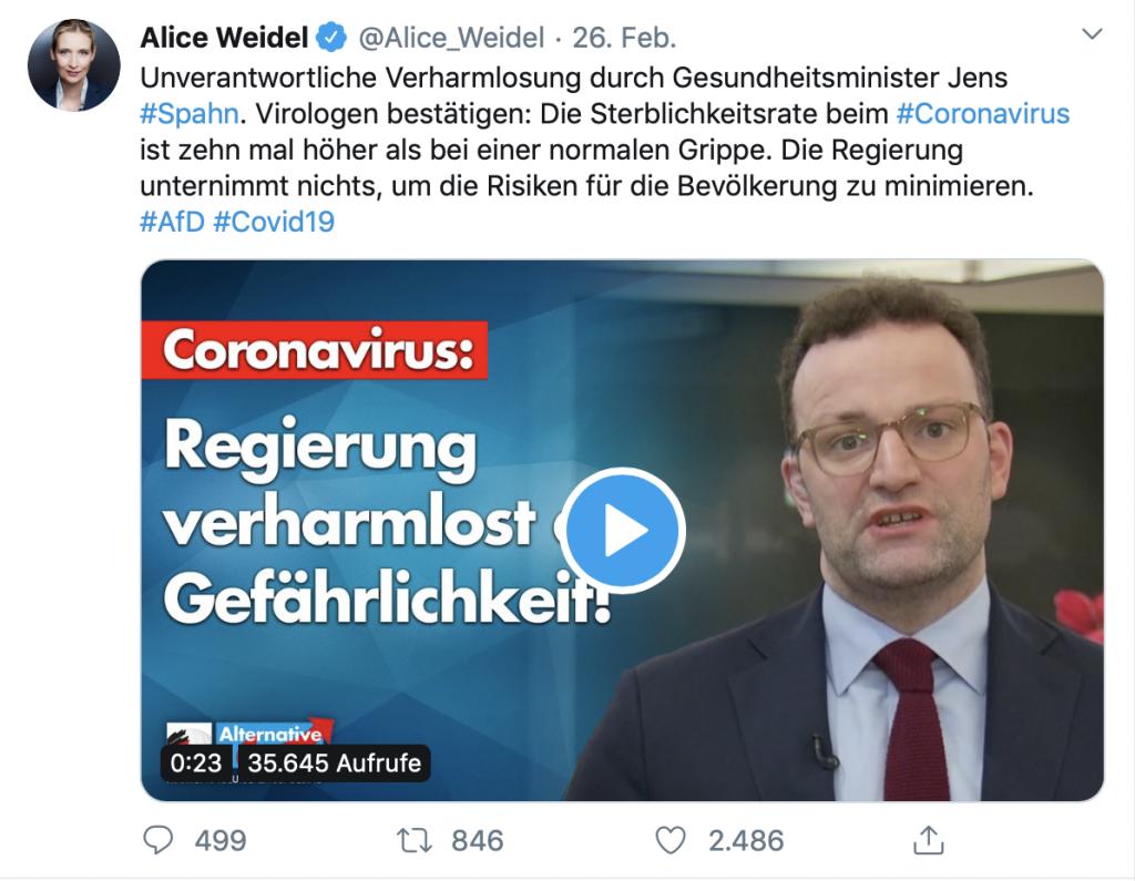 Angst und Panik schüren: Dr. Alice Weidel; Screenshot: Twitter