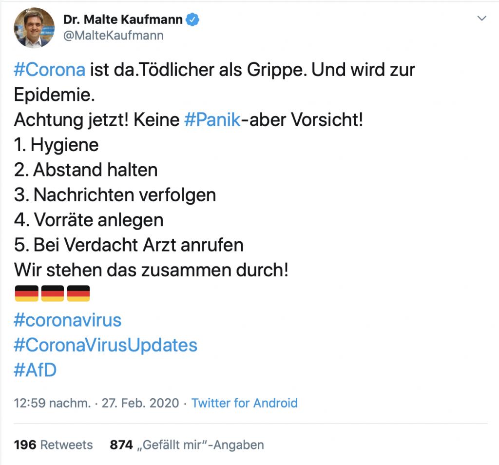 """""""Tödlicher als Grippe"""" Keine Panik; Screenshot Twitter"""