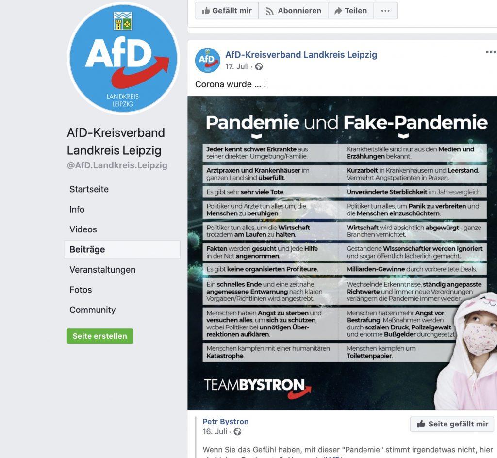 """Am 17. Juli 2020: COVID-19 ist eine """"Fake-Pandemie""""; Screenshot Facebook"""