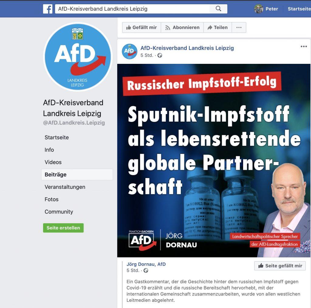 """Gestern wurde von """"Fake-Pandemie"""" gesprochen - heuer wird der lebensrettende """"Sputnik-Impfstoff"""" gefeiert; Screenshot Facebook"""