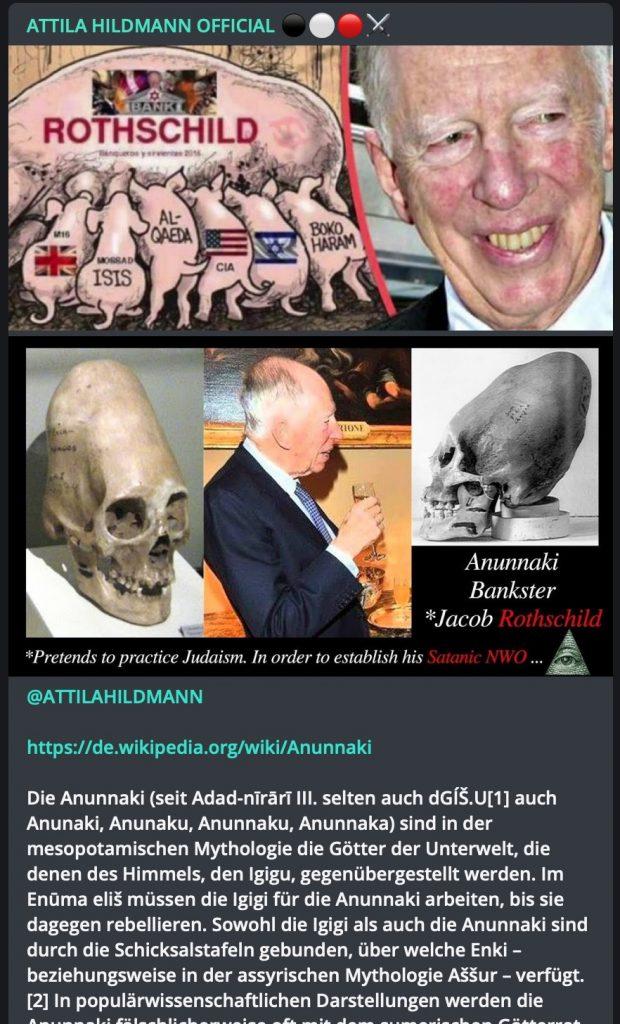 Antisemitische Hassreden bei Attila Hildmann; Screenshot Telegram