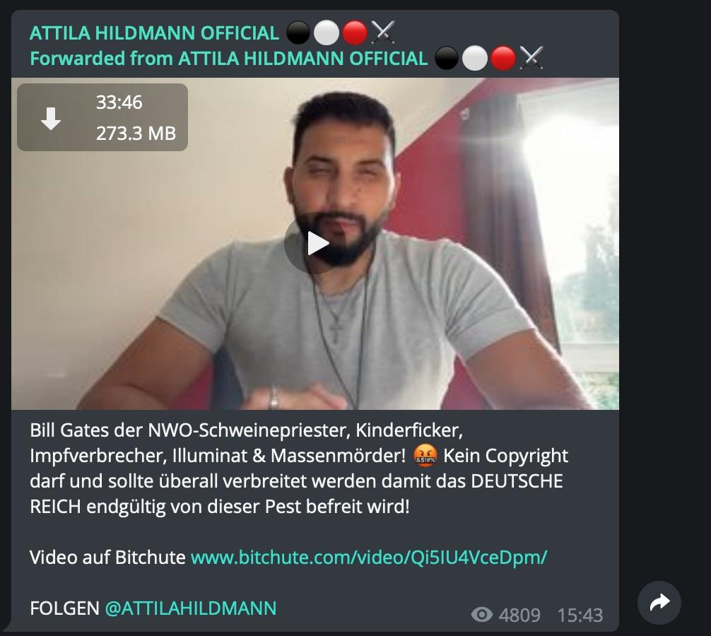 Attila Hildmann: Beleidigungen gegen Bill Gates; Screenshot Telegram
