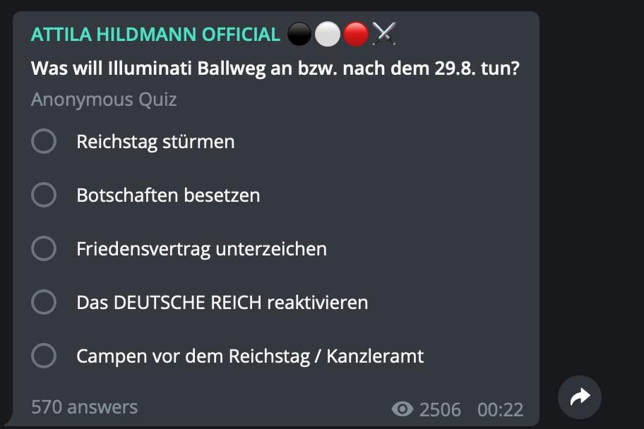 Scharmützel mit Michael Ballweg; Screenshot Telegram