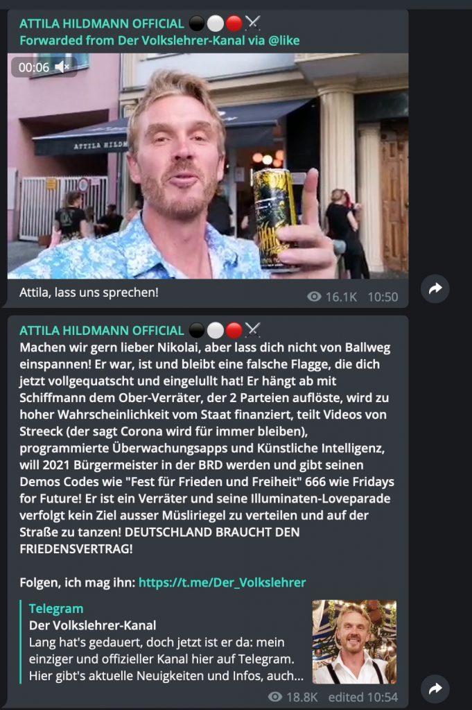 Neue Freunde finden: Attila und der Volkslehrer; Screenshot Telegram