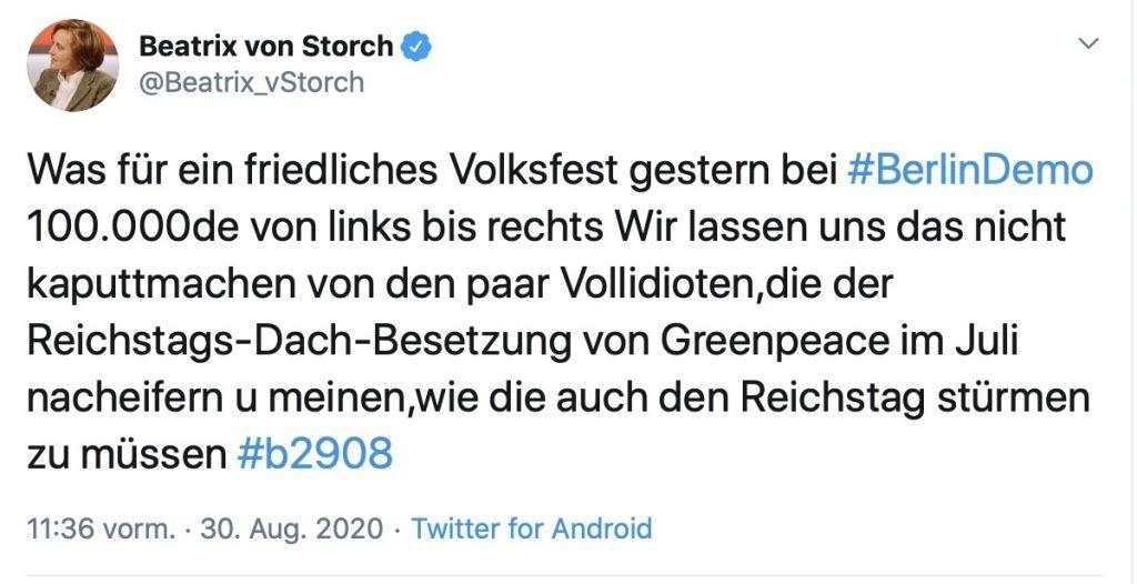 """Beatrix von Storch: """"Friedliches Volksfest""""; Screenshot Twitter"""
