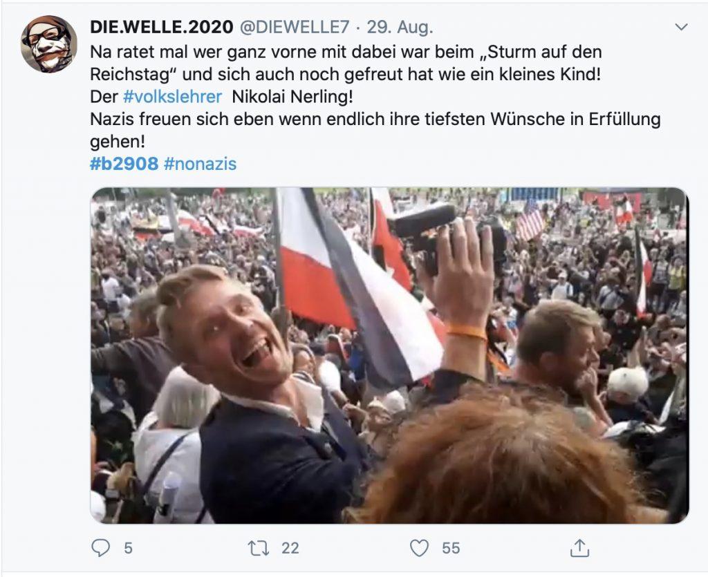 """Der Volkslehrer"", Nikolai Nerling, in Berlin; Screenshot Twitter"