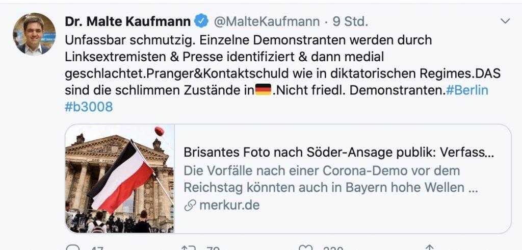 """Unfassbar schmutzig"": Dr. Malte Kaufmann; Screenshot Twitter"