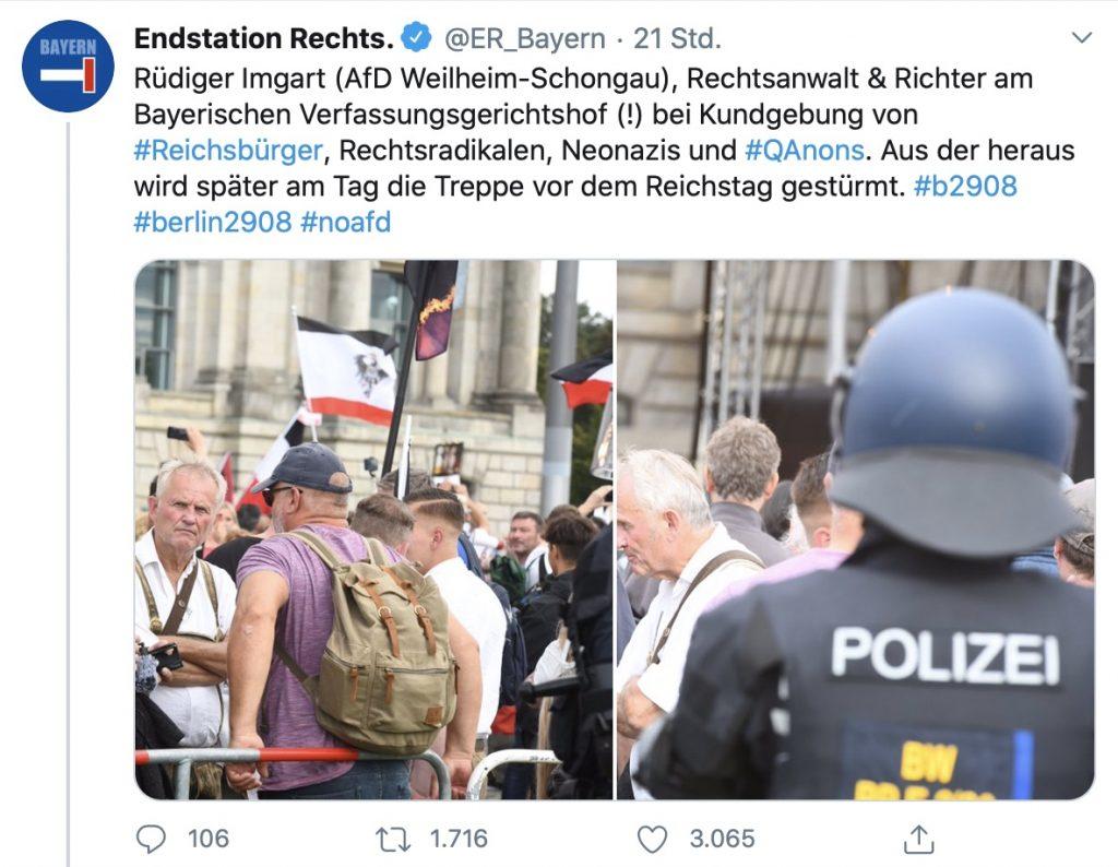 Rüdiger Imgart (AfD) in bester Gesellschaft; Screenshot Twitter