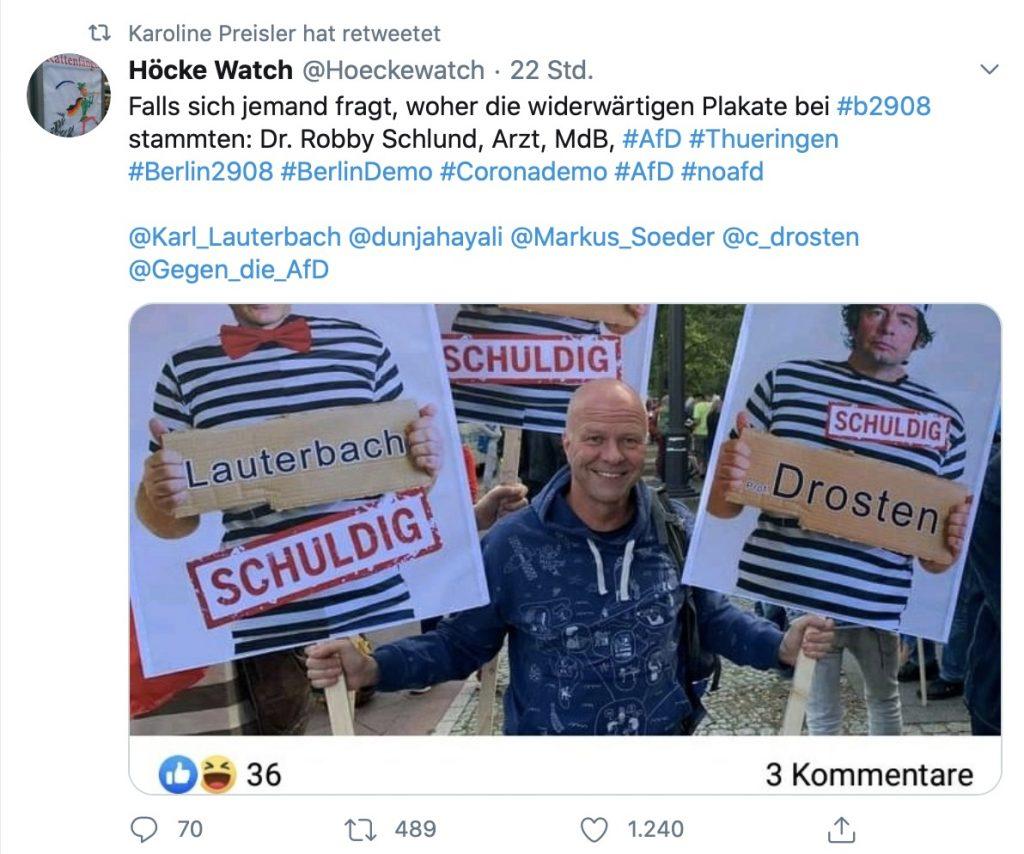 Robby Schlund möchte Dr. Christian Drosten und Karl Lauterbach inhaftiert sehen; Screenshot Twitter