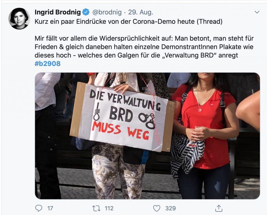 Gewaltphantasien von Reichsbürgern; Screenshot Twitter