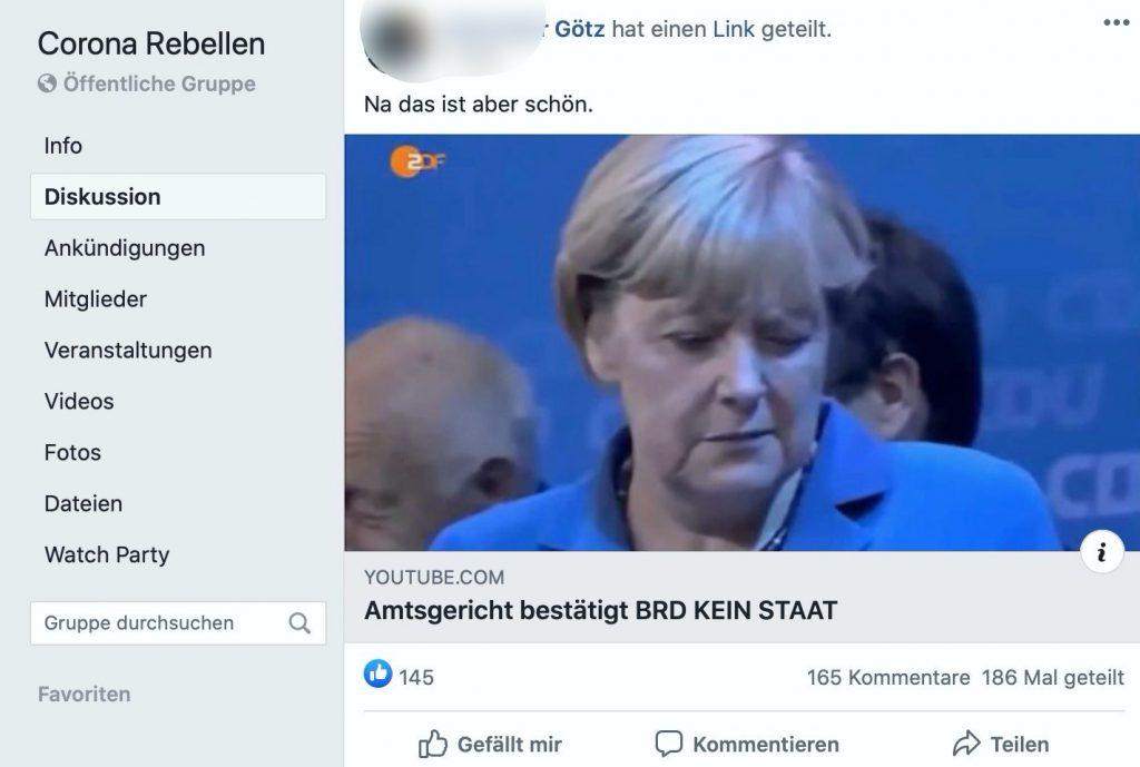 """Bei den """"Corona Rebellen"""" stark im Schwange: Reichsbürgerthemen; Screenshot"""