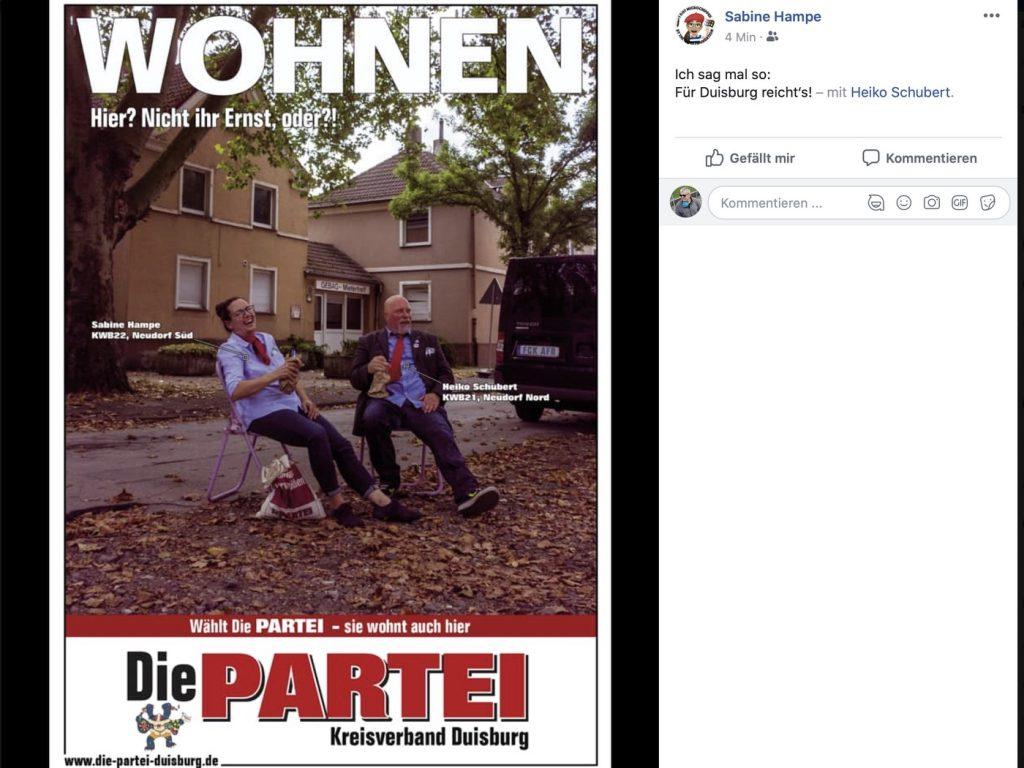 """""""WOHNEN - Hier? Nicht ihr Ernst, oder?"""" Screenshot Facebook"""