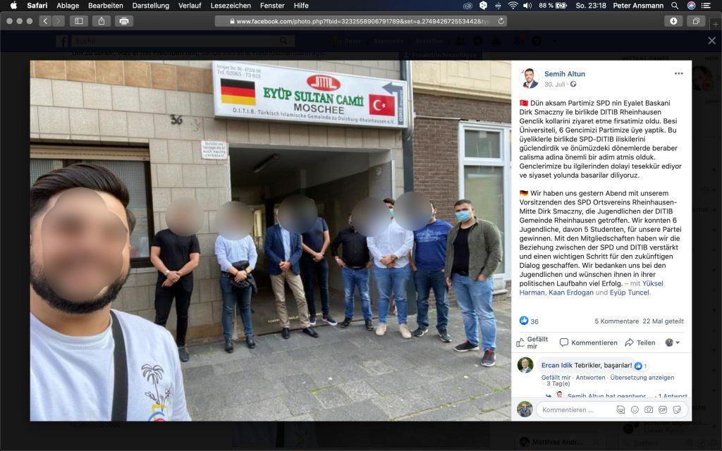 """""""Beziehung zwischen der SPD und DITIB verstärkt und einen wichtigen Schritt für die zukünftige Zusammenarbeit geschaffen"""" Screenshot Facebook"""