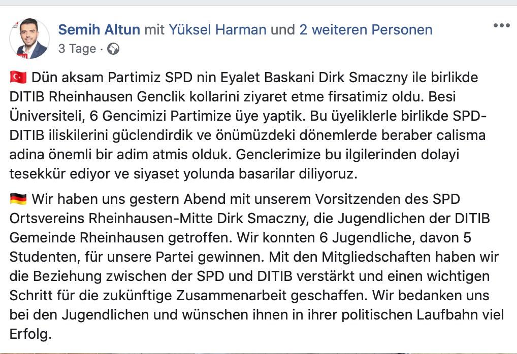"""Zuerst """"Zusammenarbeit"""" - später Dialog. Im türkischsprachigen Teil wurde die ursprüngliche Fassung beibehalten; Screenshot Facebook"""
