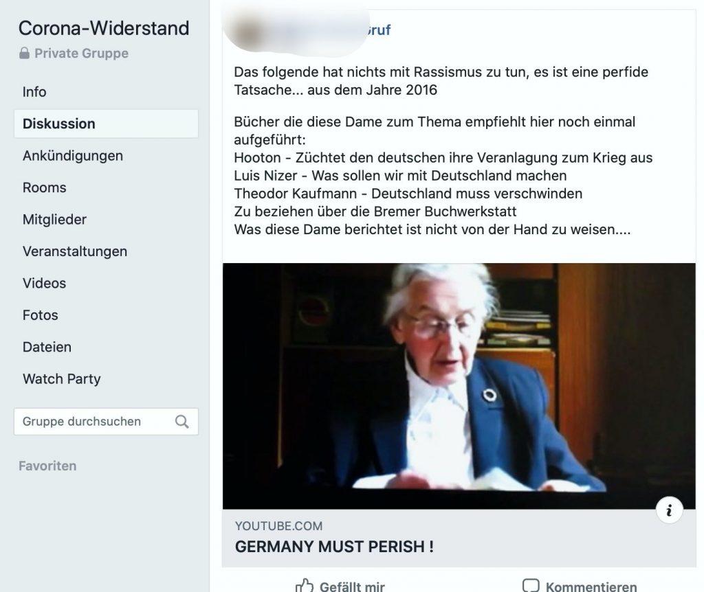 """Toleriert beim """"Corona-Widerstand"""": Ursula Haverbeck, eine verurteilte Rechtsextremistin; Screenshot"""