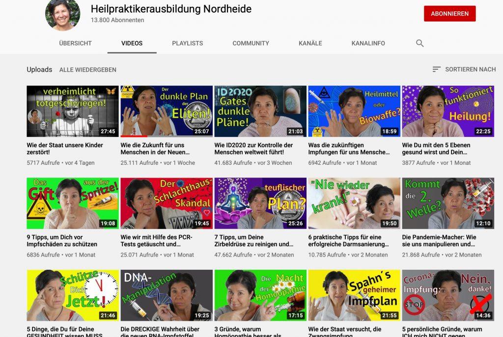 """Mehr braucht man über Heilpraktiker gar nicht wissen: Der Kanal """"Heilpraktikerausbildung Nordheide""""; Screenshot"""