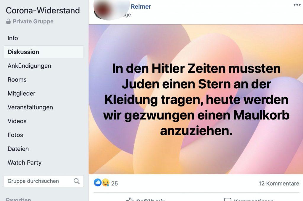 "Relativierung der Schoah in der Gruppe ""Corona-Widerstand""; Screenshot"