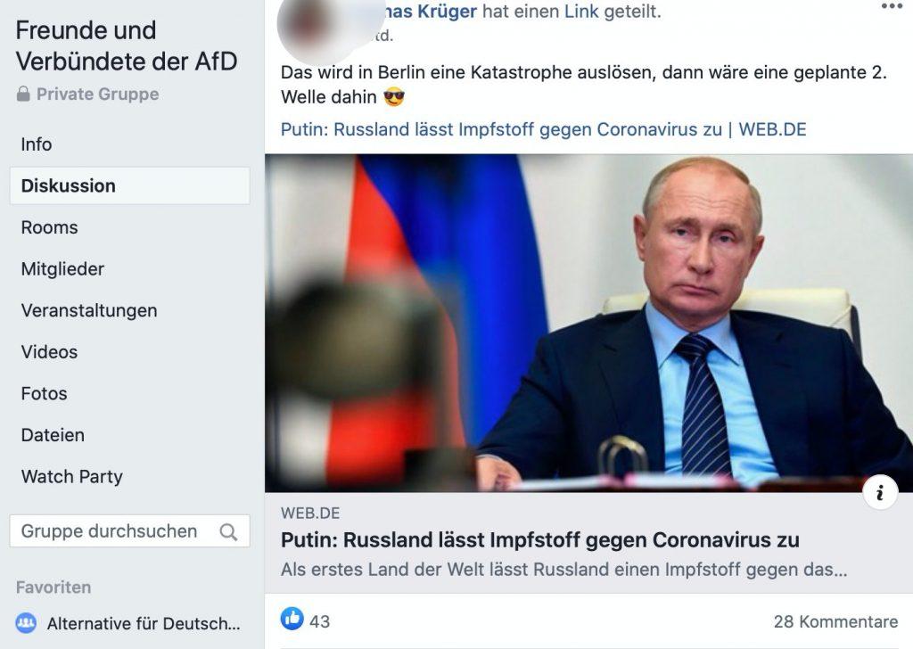"""""""Keine Aufnahme für Zionisten und derselben Fanatikern"""" in der Facebook-Gruppe """"Freunde und -Verbündete der AfD""""; Screenshot Facebook"""