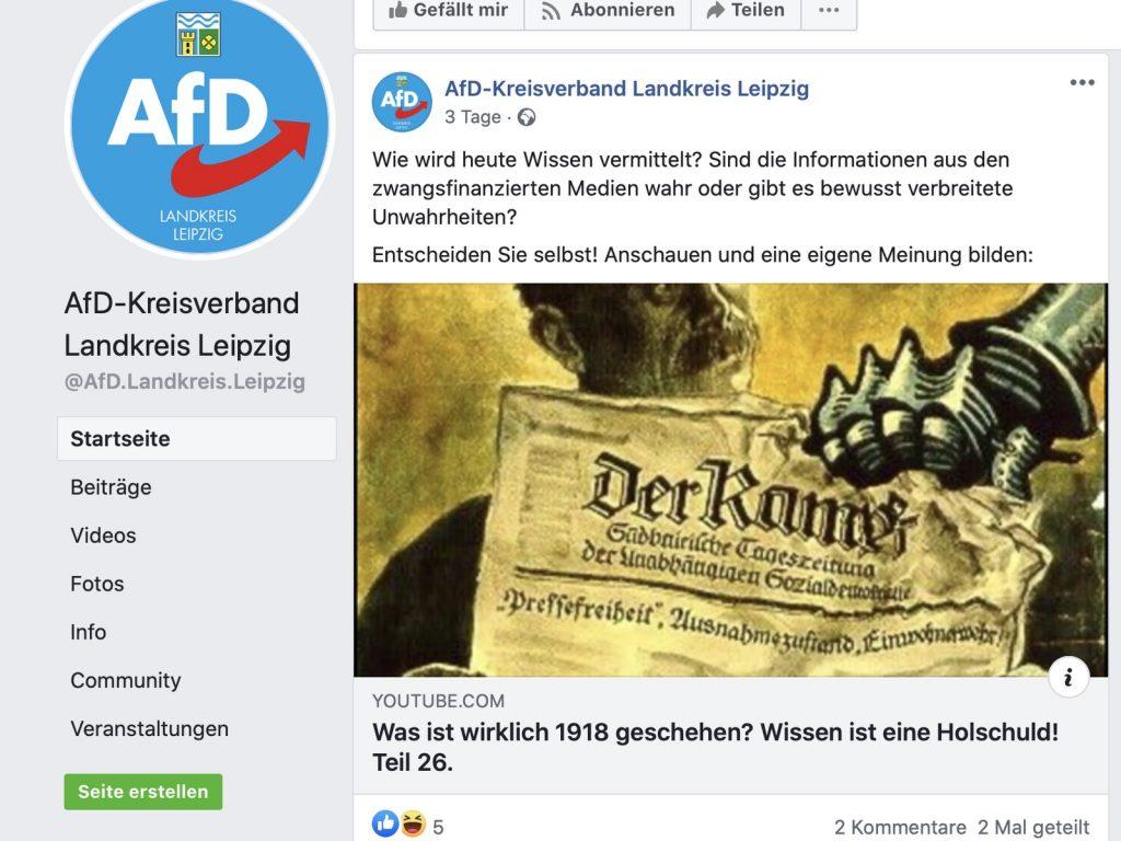 fD Kreisverband Landkreis Leipzig: Geschichtsrevisionistisch auf Reichsbürgerkurs; Screenshot Facebook