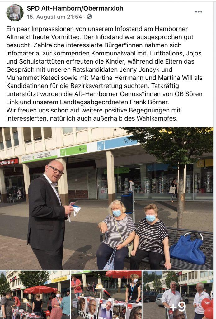 """""""Tatkräftig unterstützt wurden die Alt-Hamborner Genoss*innen von OB Sören Link und unserem Landtagsabgeordneten Frank Börner.""""; Screenshot Facebook"""