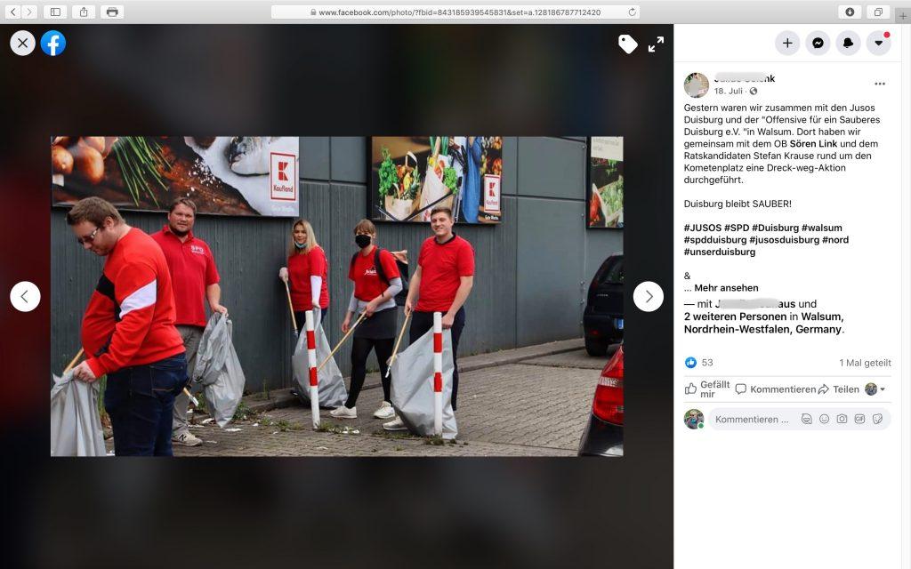 """""""Dort haben wir gemeinsam mit dem OB Sören Link und dem Ratskandidaten Stefan Krause rund um den Kometenplatz eine Dreck-weg-Aktion durchgeführt.""""; Screenshot Facebook"""