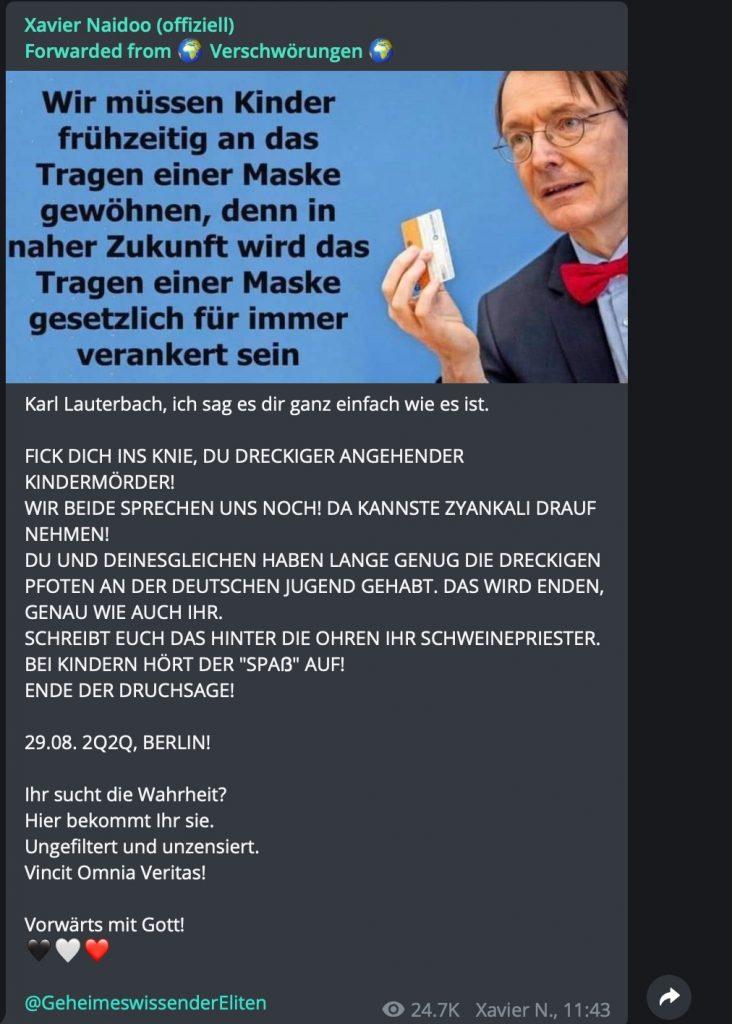 """Karl Lauterbach, laut Xavier Naidoo """"ein angehender Kindermörder""""; Screenshot Telegram"""