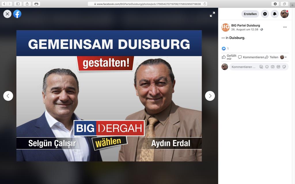 Wahlwerbung der BIG-Partei auf Facebook; Screenshot Facebook