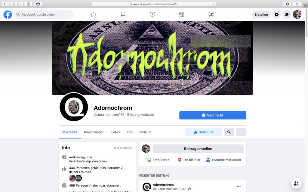 Die neue (vorübergehende) Seite von Adornochrom auf Facebook; Screenshot