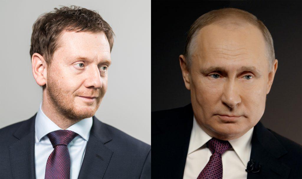 CDU-Ministerprüsident Michael Kretschmer und Russlands Präsident Vladimitr Putin