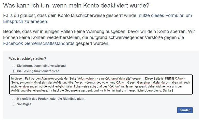 Kommunikation mit Facebook; Screenshot