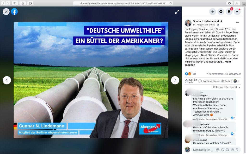 Gunnar Lindemann: Ein Fan von NORD STREAM 2; Screenshot Facebook
