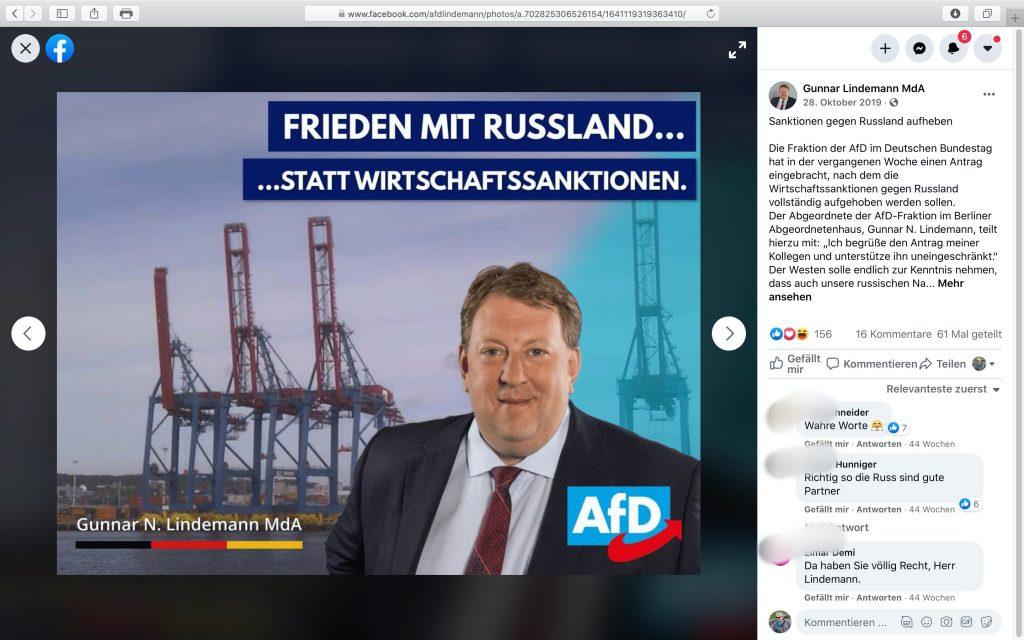 Frieden mit Russland; Screenshot Facebook