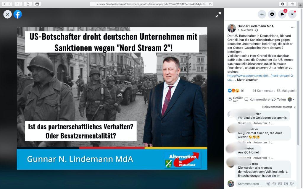"""Kritik an Nord Stream 2 wird hier als""""Besatzermentalität"""" gedeutet; Screenshot Facebook"""