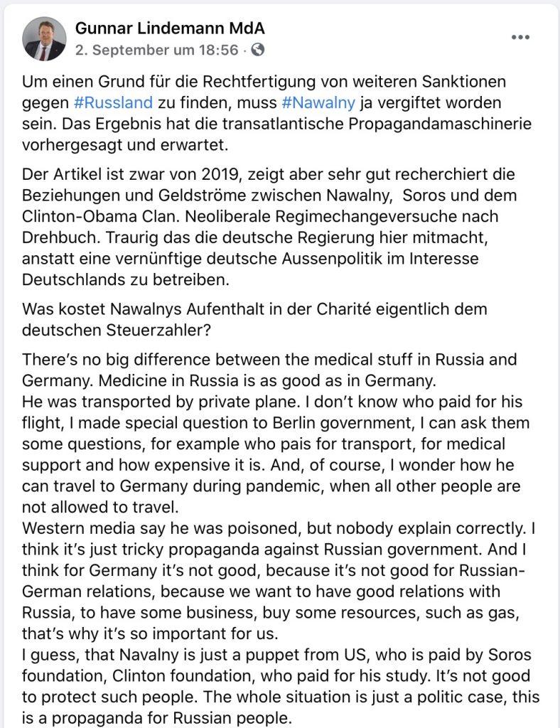 """""""Neoliberale Regimechangeversuche"""" Screenshot Facebook"""