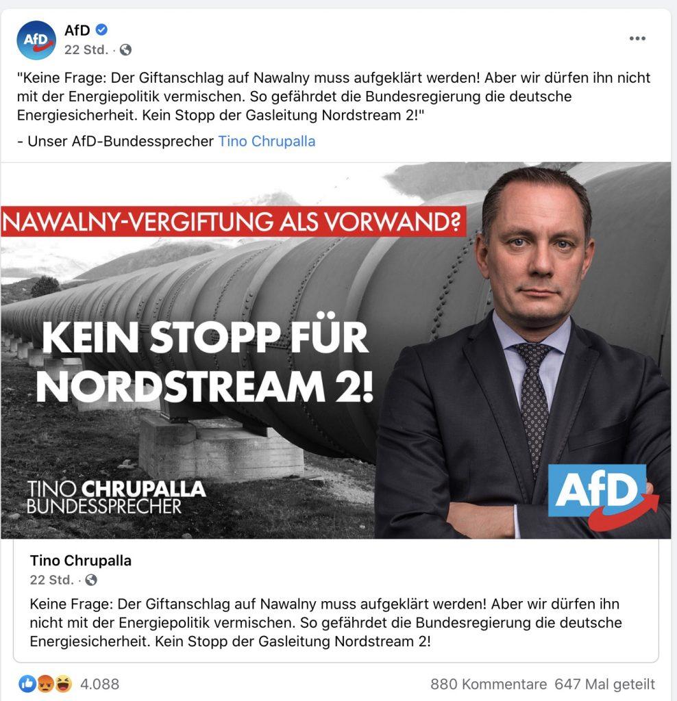 """""""KEIN STOPP FÜR NORDSTREAM 2"""" Screenshot Facebook"""