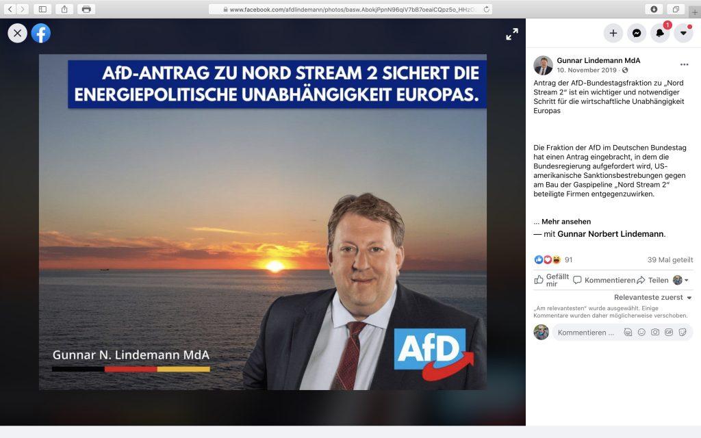 AfD-Antrag zu NORD STREAM 2 im Bundestag; Screenshot Facebook