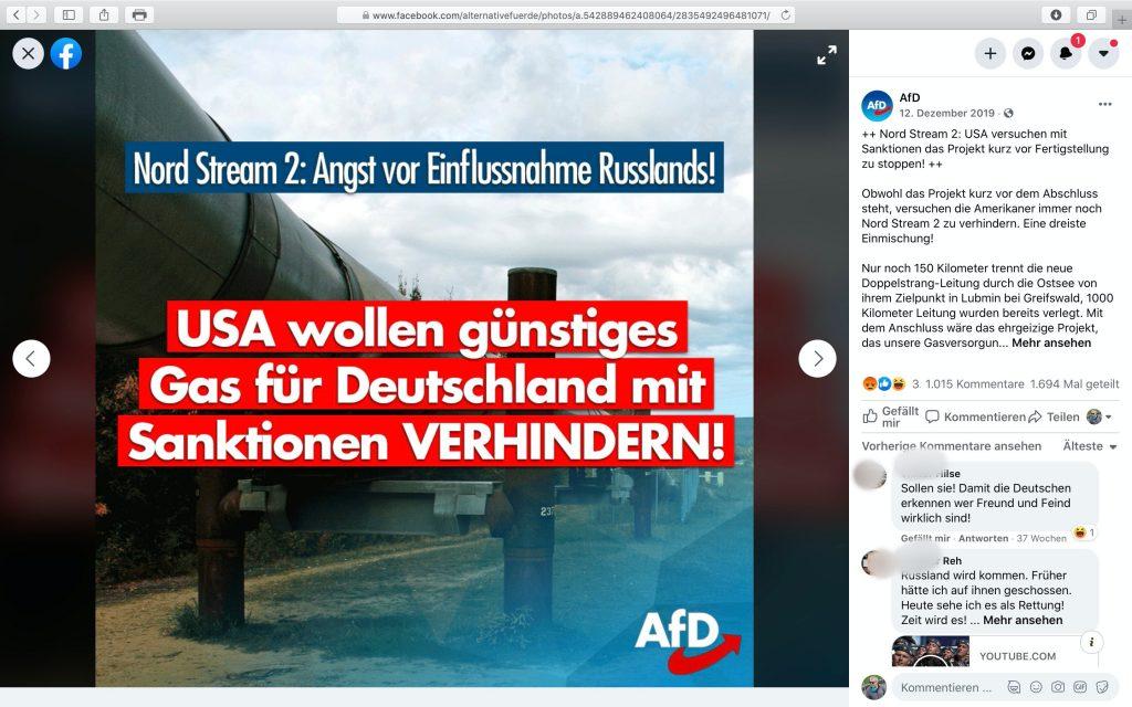 Lobby des Kreml: Die AfD ist Putins fünfte Kolonne in Deutschland; Screenshot Facebook