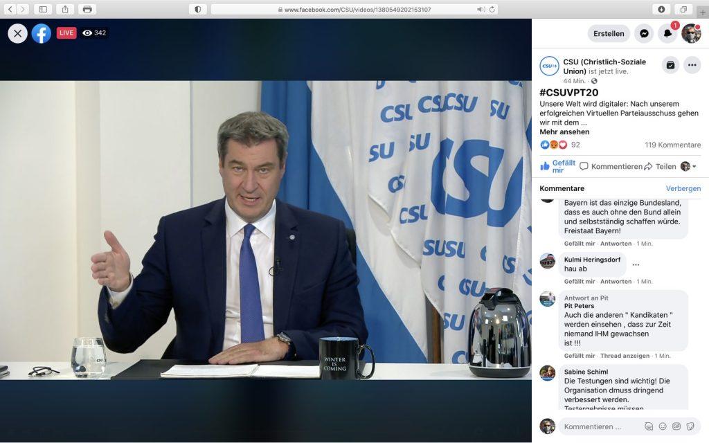 Der bayerische Ministerpräsident und CSU-Vorsitzende Dr. Markus Söder; Screenshot