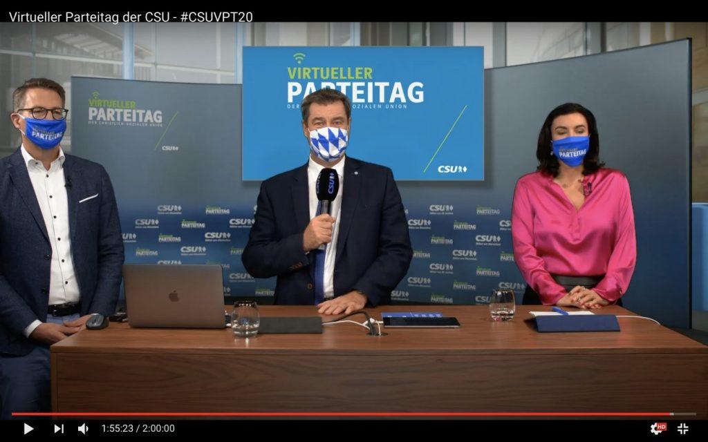 #CSUVPT20: Markus Blume, Markus Söder und Dorothee Bär; Screenshot