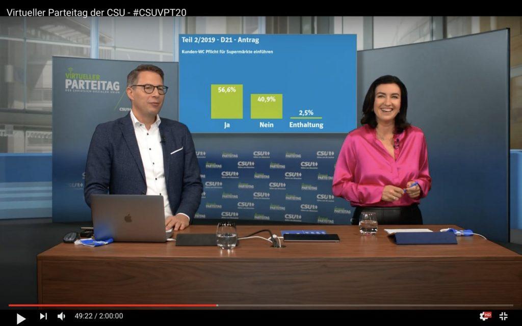 Souveräne Moderation: Markus Blume und Dorothee Bär; Screenshot