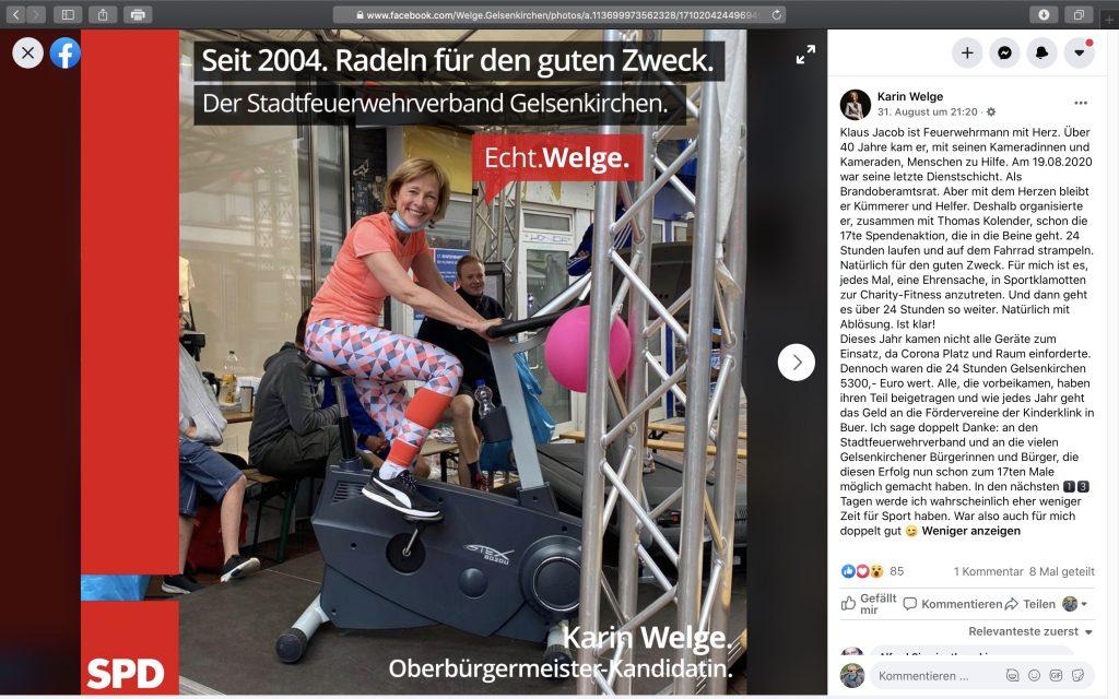 """""""Der Stadtfeuerwehrverband Gelsenkirchen. Echt. Welge."""" Screenshot Facebook"""