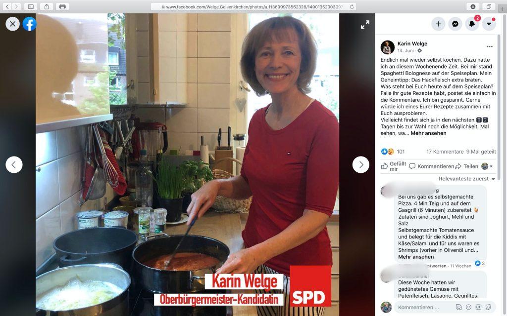 Bei Karin Welge kann man was lernen, z.B. Kochkunst; Screenshot Facebook