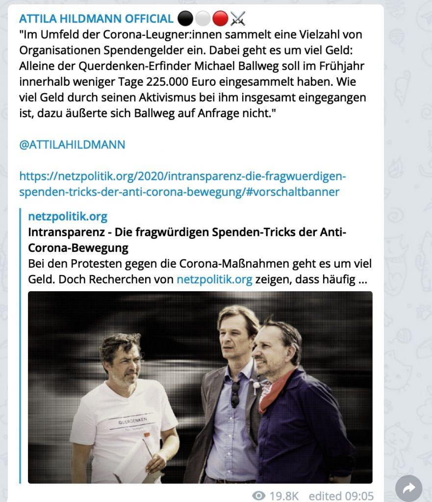 Die Spenden-Tricks der Anti-Corona-Bewegung; Screenshot Telegram