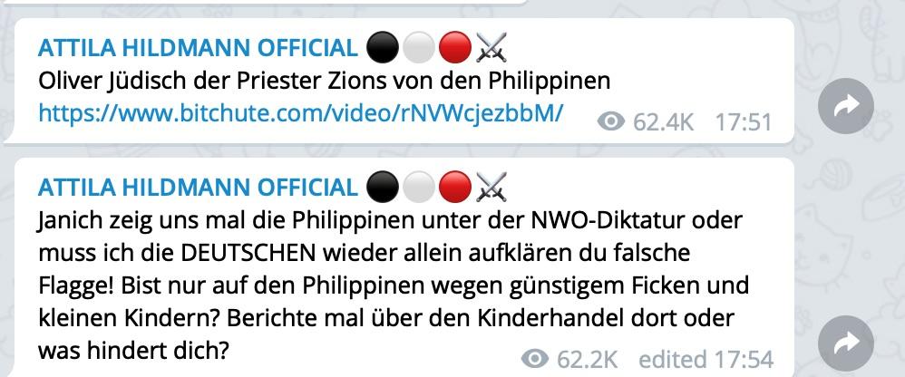 "Oliver Janich mutiert bei Hildmann zu ""Oliver Jüdisch""; Screenshot Telegram"