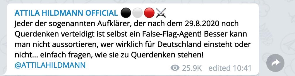 Querdenken = False Flag; Screenshot Telegram