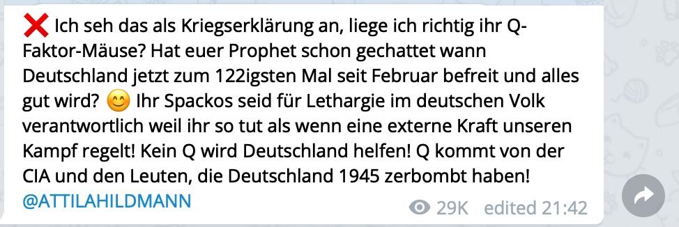 """Die """"Untätigkeit"""" von QAnon war schon in vorherigen Videos und Beiträgen Thema bei Attila Hildmann; Screenshot Telegram"""